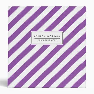 Purple And White Diagonal Stripes Pattern Vinyl Binder