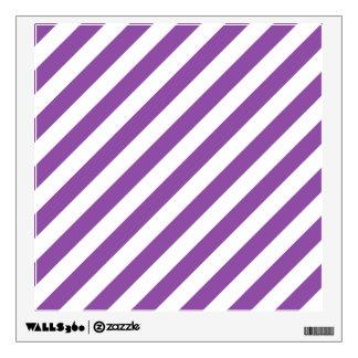 Purple And White Diagonal Stripes Pattern Wall Sticker
