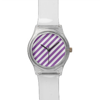 Purple And White Diagonal Stripes Pattern Watches