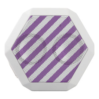 Purple And White Diagonal Stripes Pattern White Bluetooth Speaker