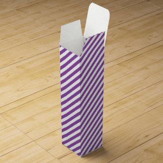 Purple And White Diagonal Stripes Pattern Wine Box