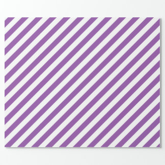 Purple And White Diagonal Stripes Pattern Wrapping Paper