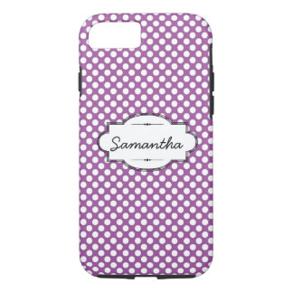 Purple and White Dots Custom iPhone 7 Tough Case