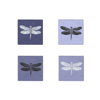 Purple and White Dragonflies Stone Magnets