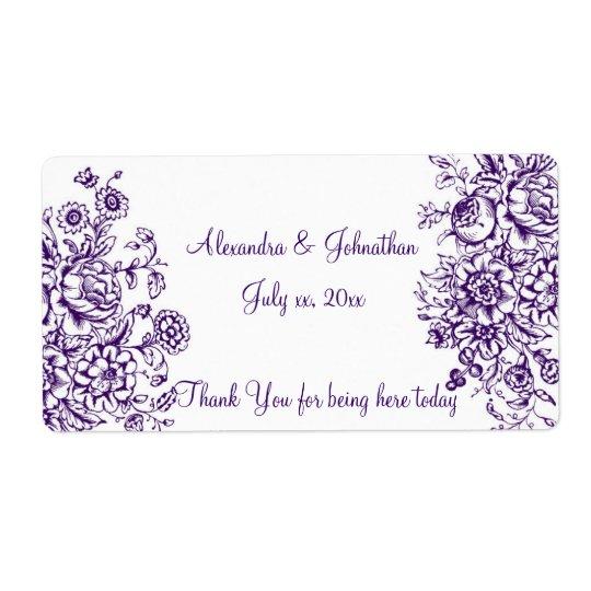 Purple and White Elegant Wedding Wine Water Label