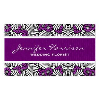Purple and White Fern Leaf Print Custom Business Card