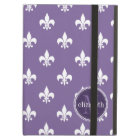 Purple and White Fleur de Lis Monogram Cover For iPad Air