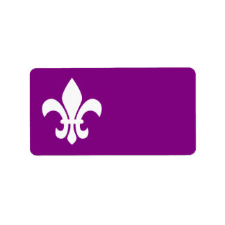 Purple and White Fleur de Lys Label