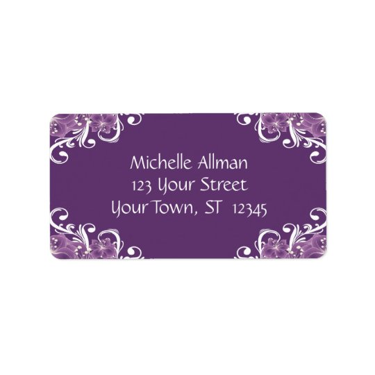 Purple and White Floral Avery Label