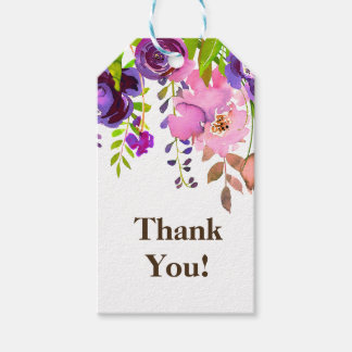 purple and white floral thank you gift tag