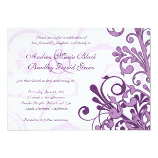 Purple and White Floral Wedding Invitation