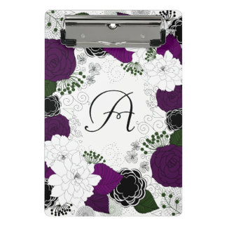 Purple and White Floral Wreath Monogram