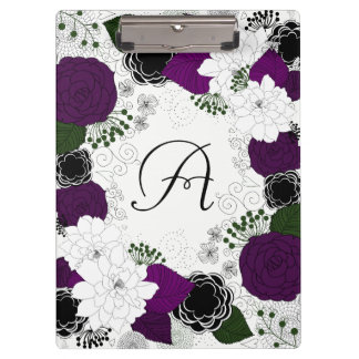 Purple and White Floral Wreath Monogram Clipboards
