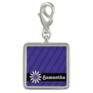 Purple and white flower monogram charm