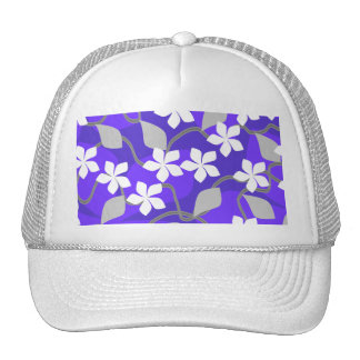 Purple and White Flowers Floral Pattern Hat