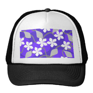 Purple and White Flowers. Floral Pattern. Hats