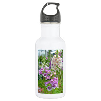Purple and white foxglove flowers 532 ml water bottle