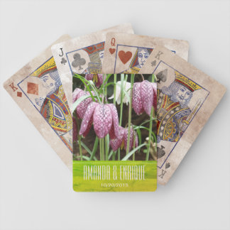 Purple and White Fritillary Flowers Bicycle Playing Cards