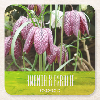 Purple and White Fritillary Flowers Square Paper Coaster