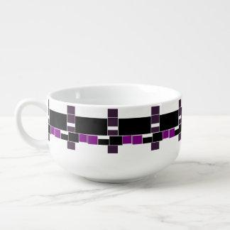 Purple And White Geometrical Pattern Soup Mug