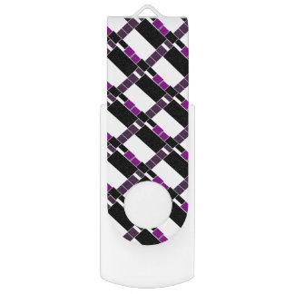 Purple And White Geometrical Pattern USB Flash Drive
