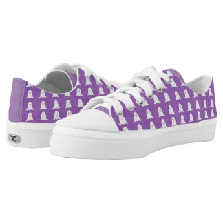 Purple and White Ghosts Low-Top Sneakers