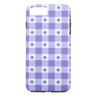 Purple And White Gingham Check Dots Pattern iPhone 7 Plus Case