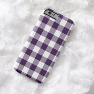 Purple and White Gingham Pattern Barely There iPhone 6 Case