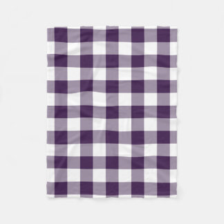 Purple and White Gingham Pattern Fleece Blanket