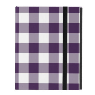Purple and White Gingham Pattern iPad Cover