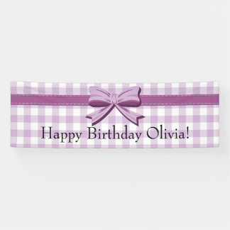 Purple and White Gingham w/ Bow Birthday Banner