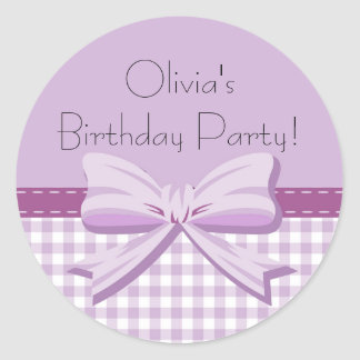 Purple and White Gingham w/ Bow Birthday Sticker