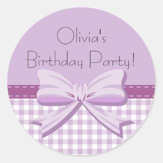 Purple and White Gingham w/ Bow Birthday Sticker
