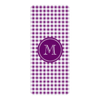 """Purple and White Gingham, Your Monogram 4"""" X 9.25"""" Invitation Card"""