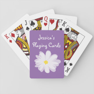 Purple and white girly daisy flower kids Birthday Playing Cards