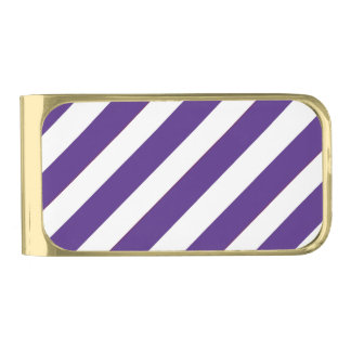 Purple and White Gold Plated Money Clip Gold Finish Money Clip