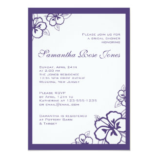 "Purple and White Hibiscus Flowers Bridal Shower 5"" X 7"" Invitation Card"