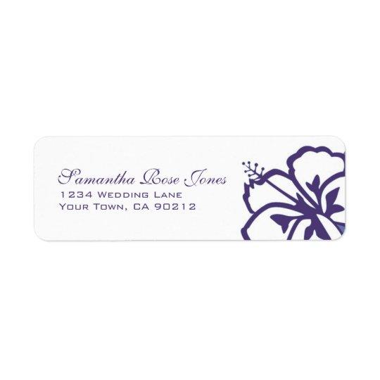 Purple and White Hibiscus Flowers Custom Address