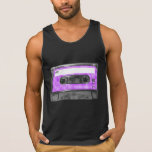 Purple and White Houndstooth Label Cassette Tanktop