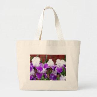 Purple and White Irises Large Tote Bag