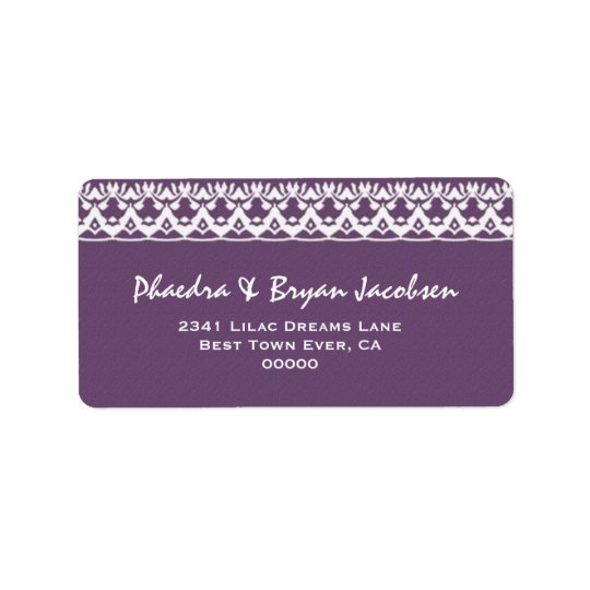 Purple and White Lace Wedding G473 Label