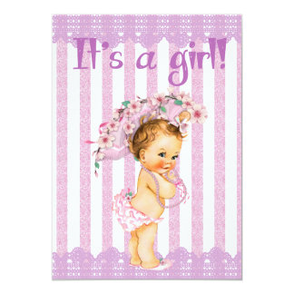 Purple and White Little Princess Baby Shower Invit Card