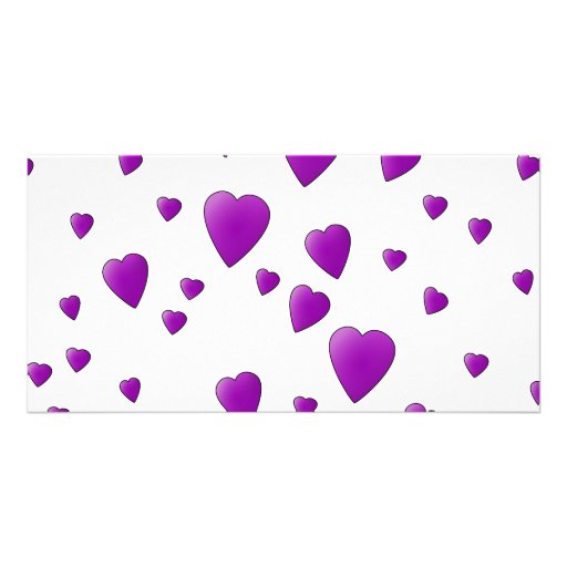 Purple and White Love Hearts Pattern. Photo Cards