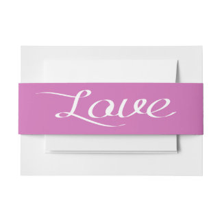 Purple And White Love Wedding Calligraphy Invitation Belly Band