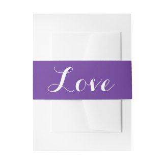 Purple And White Love - Wedding Party Invitation Belly Band
