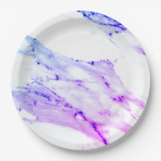 Purple and White Marble Paper Plate