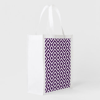 Purple and White Meander Reusable Grocery Bag