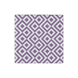 Purple and White Meander Stone Magnets