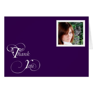 Purple and White Modern Classic Thank You card