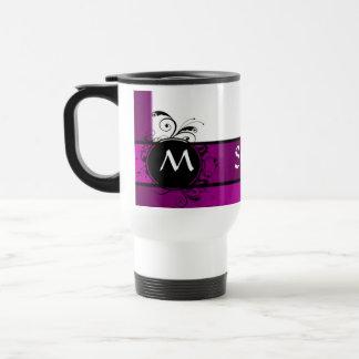 Purple and white monogrammed travel mug
